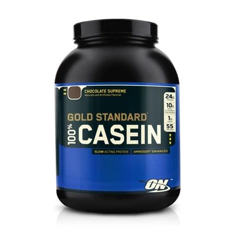 Flacon de poudre de protéine de caséine 100% (71 portions) de la marque Optimum Nutrition, saveur chocolat