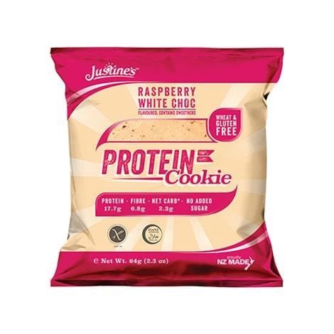 Sachet de 12 cookies protéinés de saveur chocolat blanc - framboise et de la marque Justine's cookies