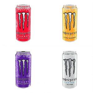 Les 4 saveurs de Monster Ultra proposées en canette à la Salle Sports Club