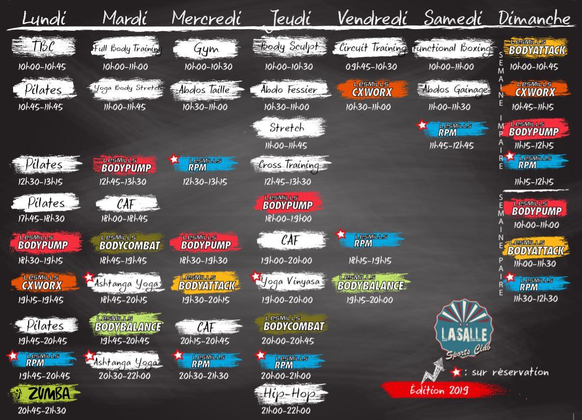 Planning hebdomadaire des cours collectifs dispensés par les coachs de la Salle Sports Club