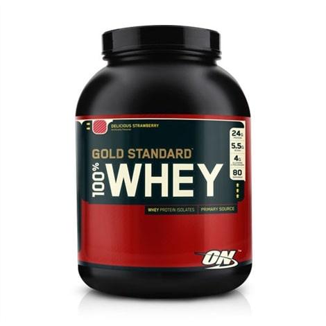 Flacon de Whey Gold de protéines de lactosérum de la marque Optimum Nutrition, saveur Fraise